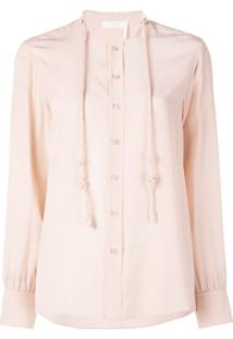 Chloé Blusa Com Cordão De Ajuste - Rosa