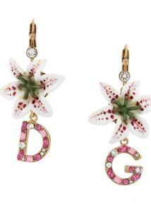 Dolce & Gabbana Par De Brincos Florais Com Logo - Dourado