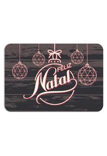Tapete Decorativo Mdecore Feliz Natal Enfeites Cinza 40X60Cm
