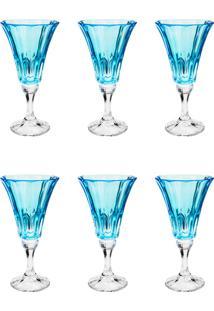 Conjunto Rojemac 6 Taças De Cristal Ecológico Para Água Wellington Island Paradise Azul