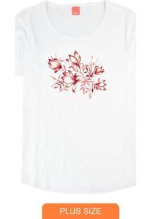 Blusa Branca Floral Em Malha