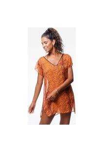 Blusa 101 Resort Wear Saida De Praia Estampada Crepe Decote V Tigre Laranja