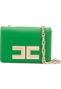 Elisabetta Franchi Logo Shoulder Bag - Verde
