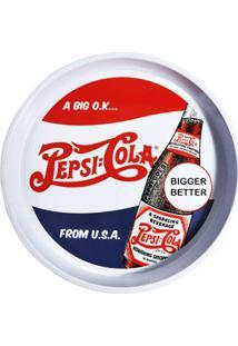 Bandeja Redonda Em Metal Pepsi Rótulo Retrô 35,5 Cm