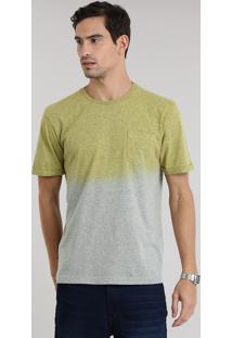 Camiseta Degradê Mescla Com Bolso Amarela
