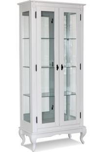 Cristaleira 2 Portas C/ Vidro E Fundo Com Espelho(Pés Luiz Xv) - Ref 60353 - Cor Laca Branca 011B