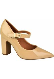 Sapato Vizzano Bico Fino Verniz - Feminino-Bege