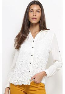 Camisa Heli Manga Longa Guipir Feminina - Feminino-Branco