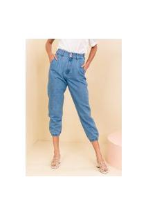 Calça Jogger Sisal Jeans Com Pregas Azul