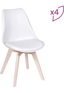 Jogo De Cadeiras Modesti- Branco & Bege Claro- 4Pã§S