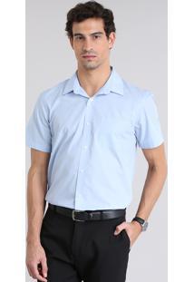 Camisa Masculina Comfort Manga Curta Azul Claro