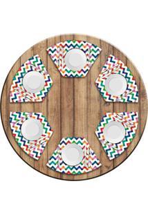 Jogo Americano Love Decor Para Mesa Redonda Wevans Listras Coloridas Kit Com 6 Pçs