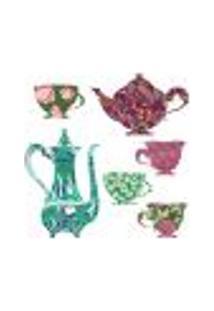 Adesivo Decorativo De Cozinha - Jogo De Chá Florido - 209Cz-G