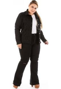 Jaqueta Jeans New Stretch Com Puídos Plus Size Feminina - Feminino-Preto