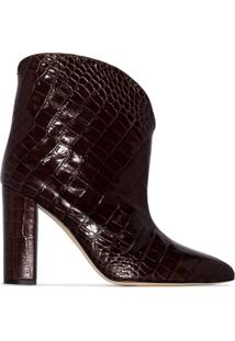 Paris Texas Croc-Effect 100Mm Ankle Boots - Marrom