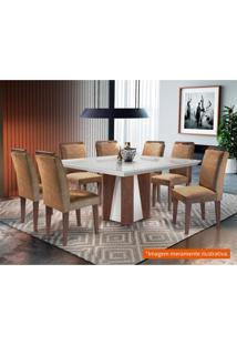 Conjunto De Mesa De Jantar Valença Com 8 Cadeiras Athenas Suede Chocolate Com Imbuia E Off White