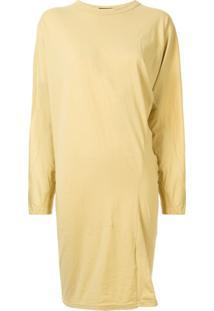 Bassike Vestido Assimétrico Com Mangas Longas Contrastantes - Amarelo