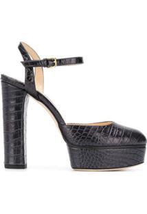 Jimmy Choo Sapato Maple Com Efeito Pele De Crocodilo - Preto