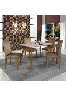 Conjunto De Mesa De Jantar Lavinia Com 4 Cadeiras Pampulha Iii Veludo Imbuia Mel Off White