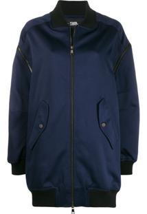 Karl Lagerfeld Zip-Off Longline Bomber Jacket - Azul
