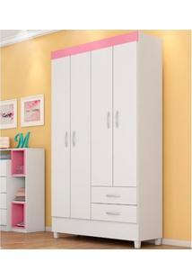 Guarda-Roupa 4 Portas Astro Branco/Rosa Flex - Lc Móveis