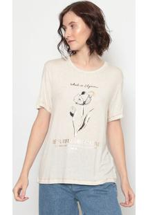 "Blusa ""Beautiful "" Com Linho- Off White & Cobre- Forforum"