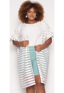 Kimono Almaria Plus Size Alt Brand Stripes Gelo