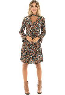 Dafiti. Vestido Floral Lã Choker Mandi ... 242646be1d5d5