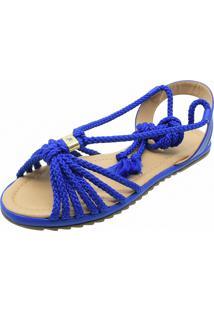 Sandalia Rasterinha Chyrro Bico Quadrado Cordonê Azul