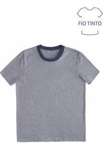Camiseta Masculina Básica Com Fio Tinto E Modelagem Regular
