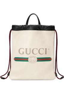 Gucci Gucci Print Small Drawstring - Branco