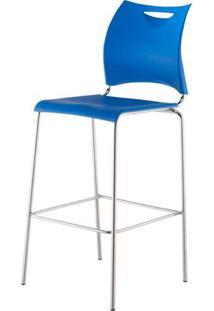 Banqueta One Assento Em Polipropileno Azul Com Base Cromada 1,14 Mt (Alt) - 44122 - Sun House