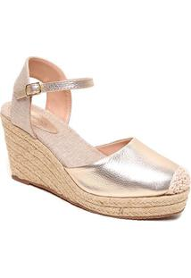 Sandália Couro Shoestock Anabela Corda Feminina - Feminino-Dourado
