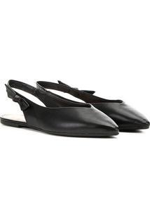 Sapatilha Dumond Chanel Bico Flat Feminina - Feminino-Preto
