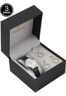 Kit 3Pçs Relógio Champion Cn28296B Marrom/Dourado