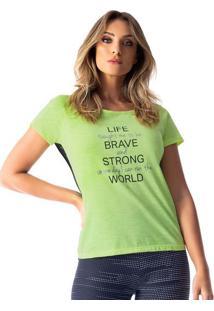 Blusa Com Inscrição- Verde & Pretavestem