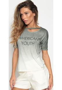 "Blusa Em Linho ""American Youth"" - Verde Militar & Off Whcalvin Klein"