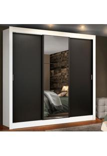 Guarda Roupa Casal Madesa Lyon Plus 3 Portas De Correr Com Espelho 4 Gavetas Branco - Branco - Dafiti