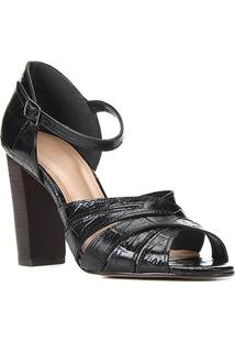 Sandália Couro Shoestock Croco Tiras Cruzadas Feminina - Feminino-Preto