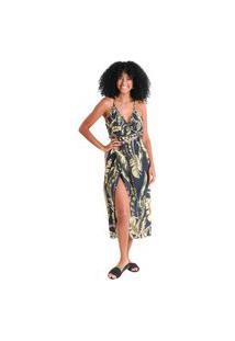 Vestido Midi Transpassado Maya - Preto - Líquido