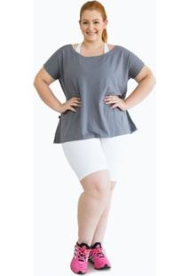 Camiseta Larguinha Deia Fitness - Feminino-Cinza