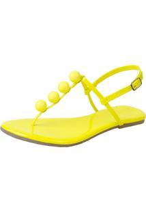 Sandália Rasteira Mercedita Shoes Verniz Neon Amarelo Bola Ultra Macia