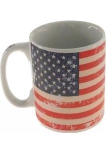 Caneca Decorativa Cerâmica Bandeira Usa Cor Branca 10X8X8Cm