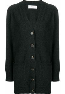 Pringle Of Scotland Cardigan Longo Com Gola V - Cinza