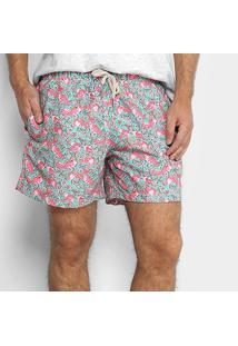 Short Shortsco Flamingo Masculino - Masculino-Verde+Rosa