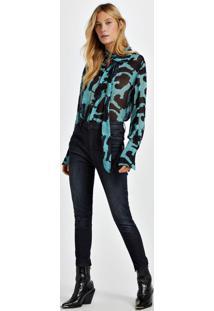 Calca Jeans Rock Skinny Midi Ziper Resicolo Jeans - 36