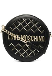 Love Moschino Circular Studded Cross Body Bag - Preto