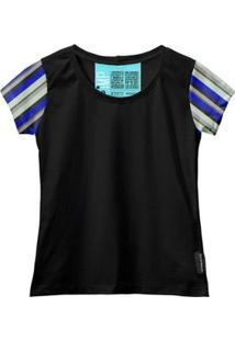 Camiseta Baby Look Feminina Algodão Listrada Manga Curta - Feminino-Preto+Cinza