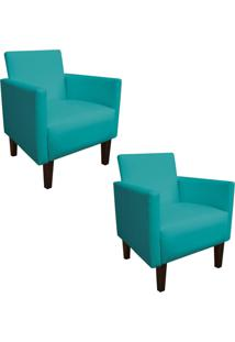 Kit 02 Poltrona Decorativa Compacta Jade Corino Azul Tiffany Com Pés Baixo Chanfrado - D'Rossi