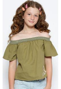 Blusa Ciganinha Com Bordado - Verde Militar & Branca